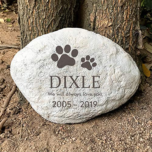 """somiss Paw Prints Pet Memorial Stones for Dogs or Cats,Personalized Pet Garden Stones Grave Markers,Engrave with Name and Dates,11""""×8"""""""