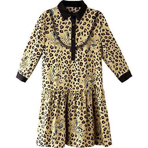 BINGQZ Cocktailjurken Lente revers luipaardprint retro A-lijn rok bijgesneden mouwen losse slanke jurk