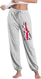 Womens Casual Sweatpants British Flag Adore Dobermans Dog Athletic Sweatpants Elastic Waist Pants
