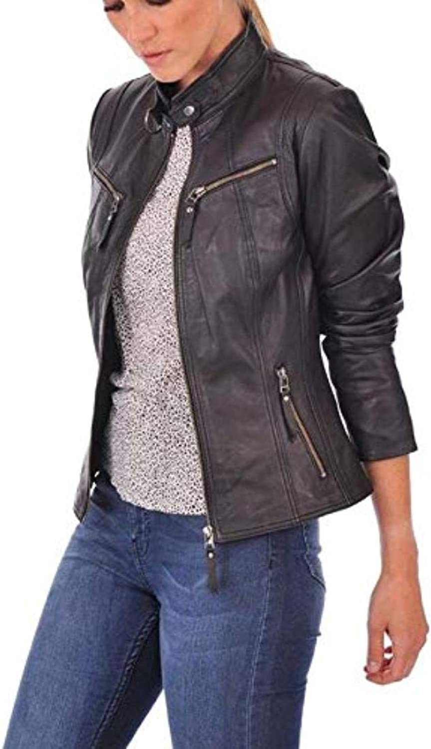 New Fashion Style Women's Leather Jackets Black I9_