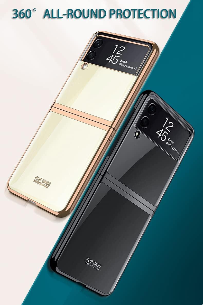 Case for Samsung Galaxy Z Flip 3 5G Phone Case Cover, Crystal Hard PC Bumper Galaxy Z Flip3 5G Crystal Case, Shockproof Anti-Scratch Transparent Covers for Galaxy Z Flip 3 5G, Bright Black