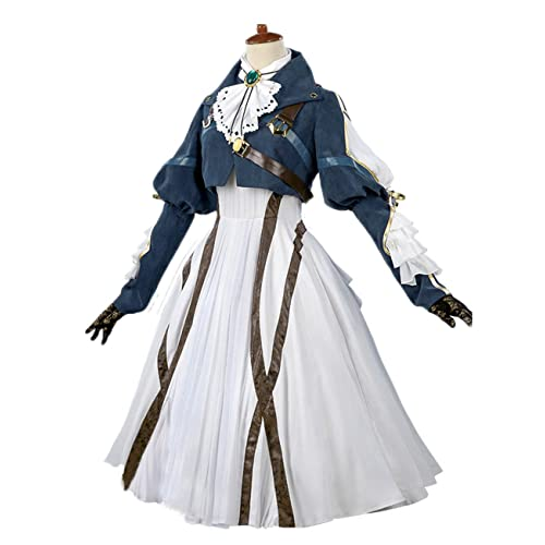 Nuoqi Violet Evergarden Cosplay Costume Womens Anime Uniforms Suit Dark  Blue White 3a475aad74