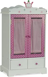 Emily Rose 18 Inch Doll Closet Wish Crown | Doll Clothes Storage Furniture Armoire | Fits 18