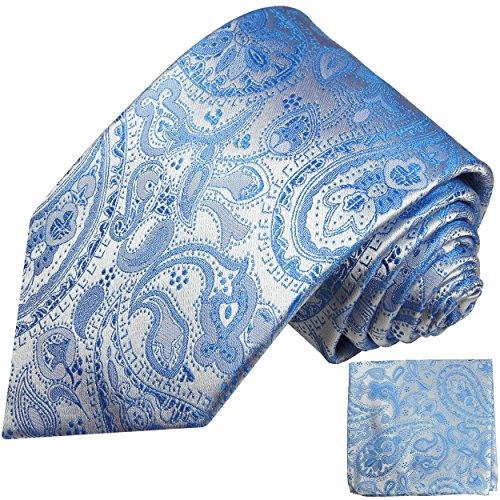Cravate homme bleu paisley ensemble de cravate 2 Pièces ( 100% Soie Cravate + Mouchoir )