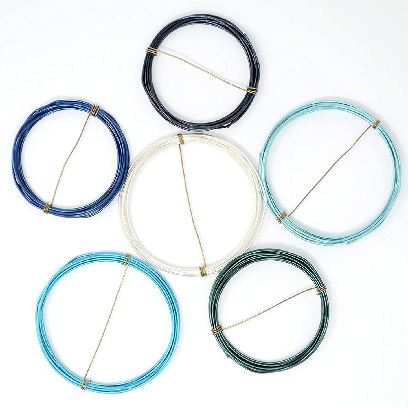 Cold and Blue - Enameled Copper Wire Spools – 18 Gauge - Baby Blue, Blue, Blue Steel, Pacific Blue, Peacock Blue, Silver - 5 feet of Each Color (30 Total feet)