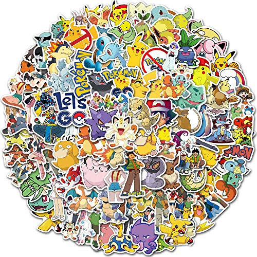 Huantai Pokemon Stickers 100 Pcs Cute Cartoon Pikachu Stickers for Kids Teens Waterproof Vinyl Anime Stickers for Skateboards Phone Laptop Car Motorcycle Bicycle Suitcase