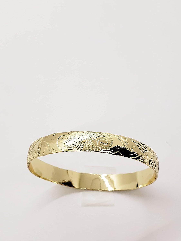 Gold Hawaiian Plumeria Bangle Bracelet