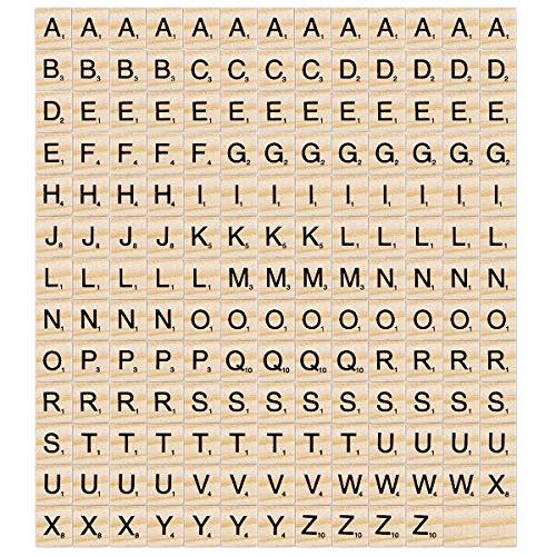 Madholly 169 pcs letras de madera scrabble letras scrabble letras madera, educación preescolar para niños, juegos significativos para amigos y familiares