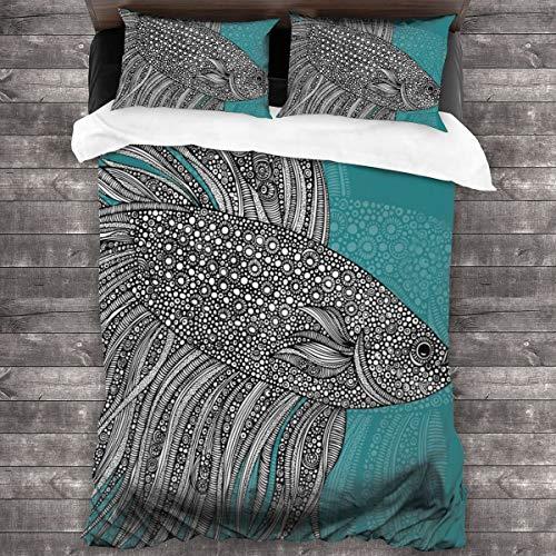 Nicokee 3-teiliges Schmusetuch Set Valentina Ramos Beta Fisch Muster Bettwäsche-Set Bettbezug und Kissenbezug, Schlafzimmer dreiteiliges Bettwäsche-Set für Erwachsene Frauen Männer Teenager