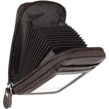 Storite RFID Blocking 10 Slot Vertical PU Leather Credit Debit Zipper Card Holder Wallet Zipper Coin Purse for Men & Women -(Chocolate Brown)