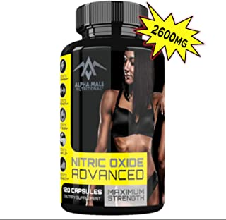 Alpha Male Nitric Oxide Advanced - Our Most Powerful 2600MG Advanced Nitric Oxide Booster and Muscle Builder for Strength, Energy, Blood Flow, weight loss and Endurance - 120 Capsules