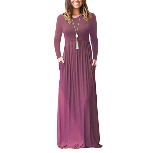 AUSELILY Women Long Sleeve Loose Plain Maxi Dresses Casual Long Dresses  with Pockets 5b1fa3532