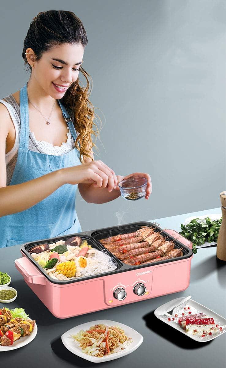 ZHANG Cuisinière à Induction électrique Hot Pot, 2 en 1 Polyvalent électrique intérieur Grill Shabu Pot Frying Cook Grill sans fumée Teppanyaki BBQ Grill hotpot,Vert Pink