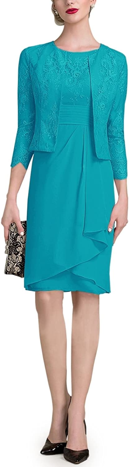 Doramei Womens Knee Length High Neck Mother of The Bride Dress with 3 4 Sleeve