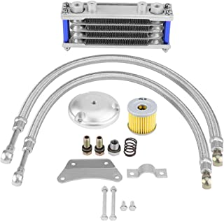 KIMISS 65ml Aluminum Motorcycle Engine Oil Cooler Radiator Kit Oil Cooling System with Mounting Accessories for Suzuki 125CC 150CC 200CC Silver Color