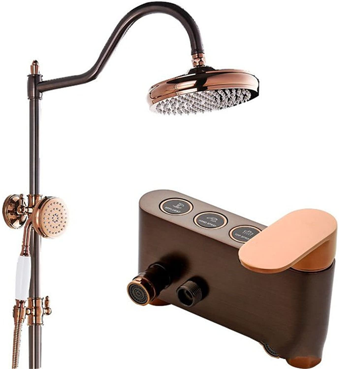 ETERNAL QUALITY Bathroom Sink Basin Tap Brass Mixer Tap Washroom Mixer Faucet All copper antique bathroom shower faucet set touch-tone pink gold handheld shower cold wate