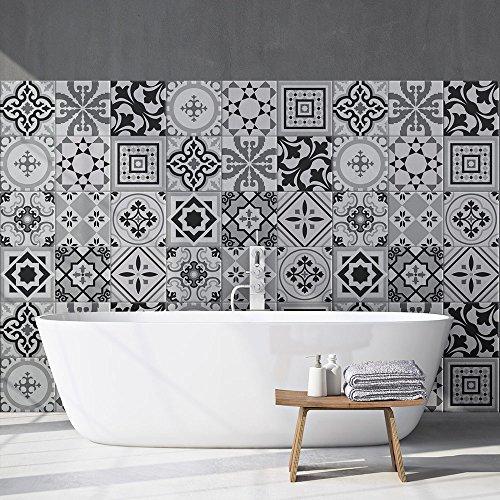 54 piezas Azulejo adhesivo 10x10 cm PS00096 Mosaico de Azulejos Adhesivo de pared Adhesivo decorativo para azulejos de cemento para baño y cocina Adhesivos de cemento pelar y pegar