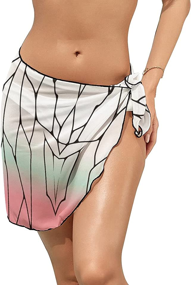 VISTANIA De-mon slayer women's Beach Cover Up Sarong Dress Bathing Suit Swimming Waist Wrap