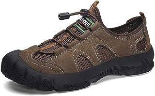 CAIFENG Zapatos atléticos para Hombres Zapatos Deportivos de Cordones de Encaje de Malla y Cuero de Buey de Cuero Anti-col...