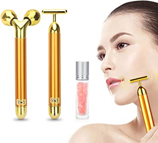 Deciniee 2-IN-1 24k Beauty Bar Golden Pulse Facial Massager Kit, Electric 3D Roller and T- Shape Skin Care Tool for Face Pull Tight Firming Lift, with Gemstone Roller Balls For Essential Oils