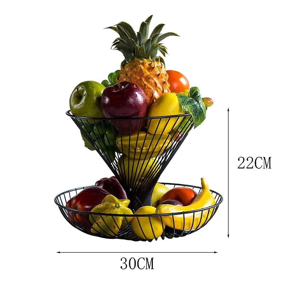 騒乱花瓶借りている多機能二重錬鉄製のフルーツバスケット、クリエイティブミニマリストデザイン、ラジアルライン、中空彫刻デザイン、大容量収納、4色から選択(ホワイト、ブラック、ブロンズ、シャンパン) (色 : ブロンズ)