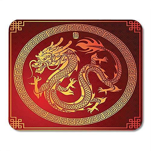 Muismat Aziatisch van de traditionele Chinese draak in cirkel teken vertaald patroon Golden muismat muismatten