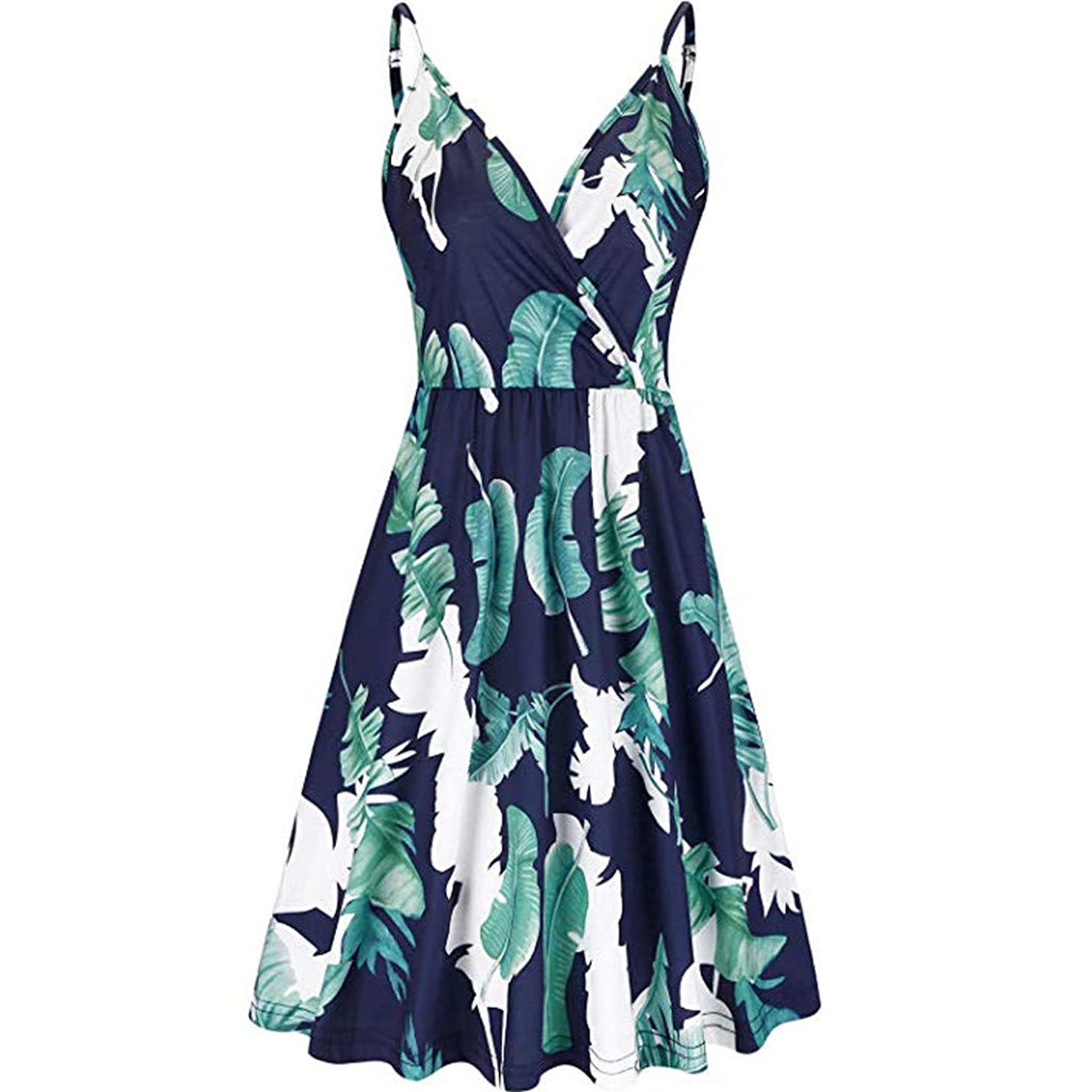 Haalife??Women's Summer Floral Spaghetti Strap Dress Tropical Print Adjustable Strappy Dress