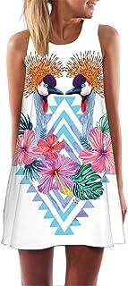 Womens Sleeveless Mini Dress,Summer Vintage Boho 3D Floral Print Cocktail Party Beach Tank Mini Dress S-2XL
