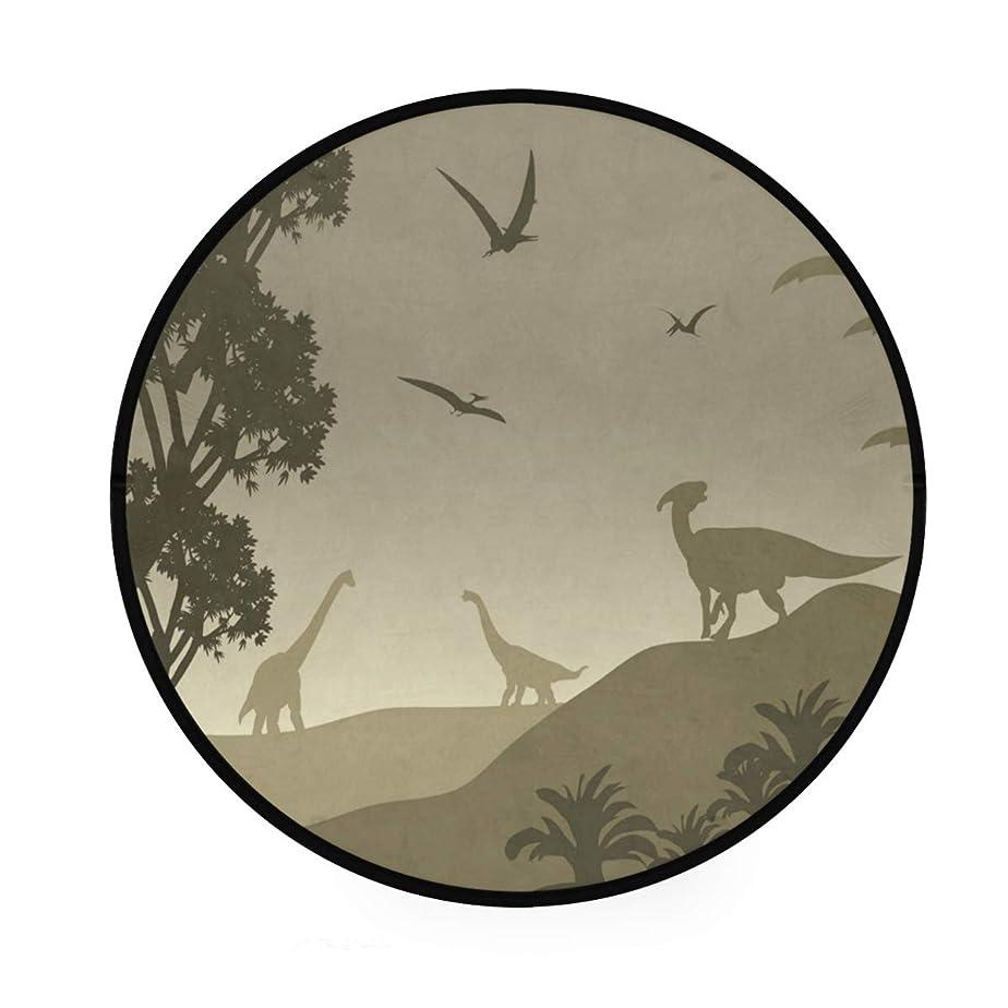 薬用とんでもないうまくやる()カオリヤ フロアマット 恐竜柄 アニマル柄 直径92cm 円形 ブラウン センターラグ 床マット チェアマット インテリアマット 滑り止め 室内