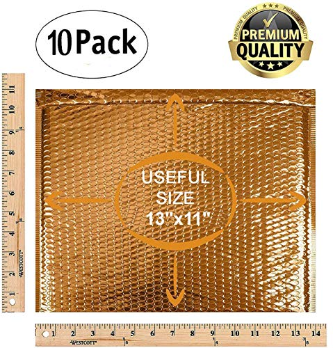 ABC 10 Pack Gold Bubble mailers 13 x 11. Folder size Metallic padded envelopes 13x11. Cushion envelopes Peel and Seal. Large padded mailing envelopes for shipping, packing, packaging. Wholesale Photo #8