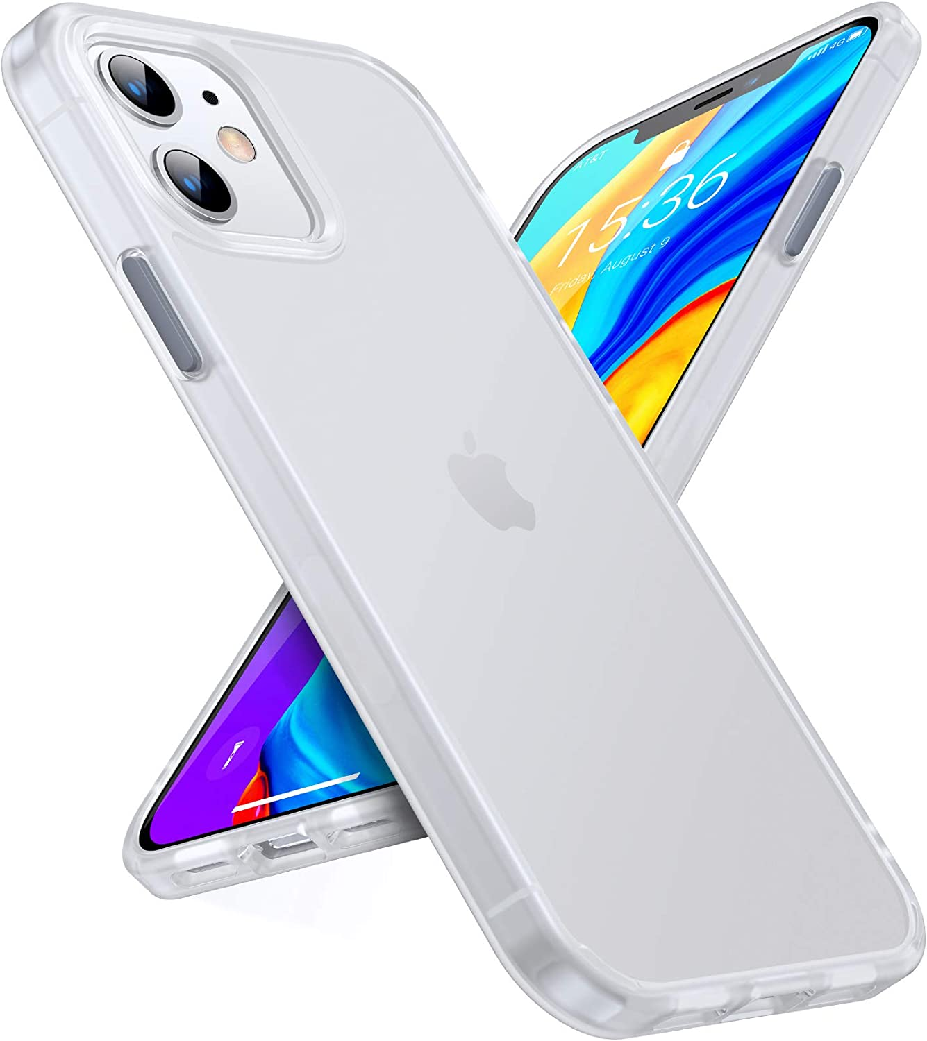 TORRAS Shockproof Compatible for iPhone 12 Case/Compatible for iPhone 12 Pro Case, [Military Grade Drop Tested] Translucent Matte Hard PC Back with Soft Silicone Edge Slim Protective Guardian, White