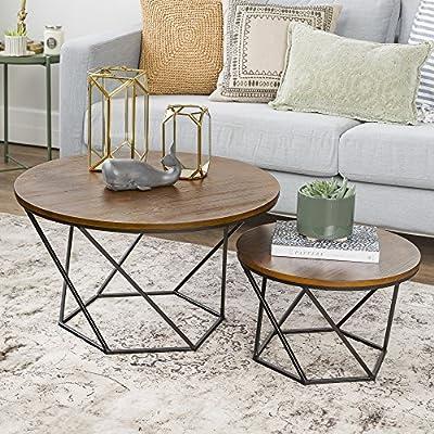 Walker Edison Furniture Modern Geometric Nesting Coffee Tables for Living Room, Set of 2, Oak/Black
