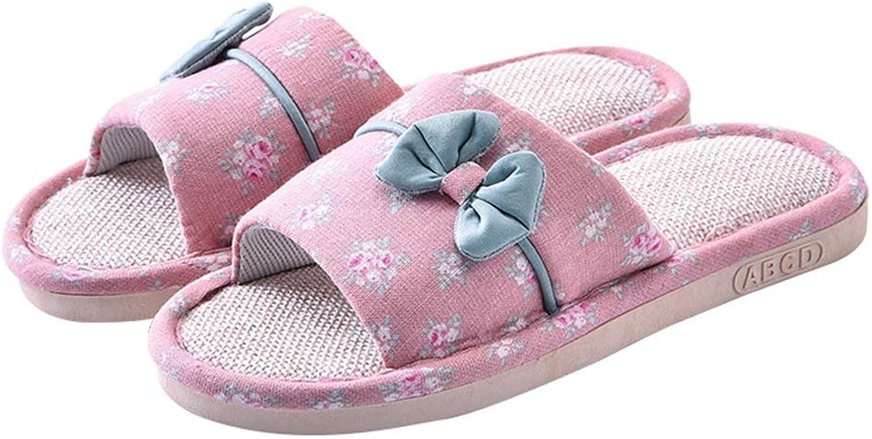 Nafanio Women Flat Slippers Linen Home Female Bedroom Indoor Summer Hemp Beach Flip-Flop shoes