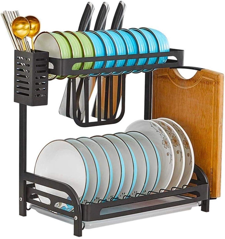 Household Stainless Steel Dish Storage Shelf, Kitchen Plates Drying Rack, Black Powder Coated - Anti-Rust ZXMSZ (Size   B)