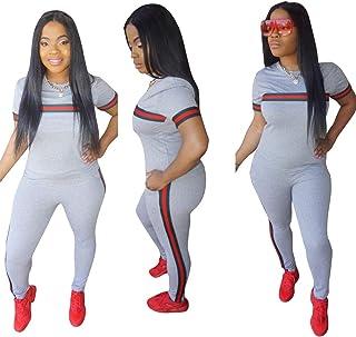Womens Sexy 2 Piece Sports Outfit Set Shirt Bodycon Pants Joggers Clubwear Tracksuit Sportswear Set