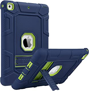 ULAK iPad 6th Generation Case, iPad 2018 Case, iPad 9.7 inch Case, Three Layer Heavy Duty Shockproof Protective Case Kickstand Soft Silicone Cover for Kids Apple iPad 9.7 2017/2018 Navy Blue/Green