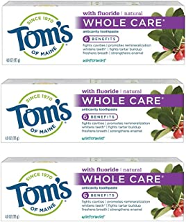 Tom's of Maine Whole Care Toothpaste, Toms Toothpaste, Natural Toothpaste, Wintermint, 4.0 Ounce, 3-Pack