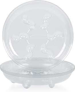 Idyllize 5 Pieces 12 inch, Clear Plastic Heavy Duty Plant Saucer Drip Trays pots