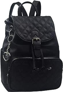 Leather Backpack Shoulder Bag Women Handbag Mini Backpack (black)