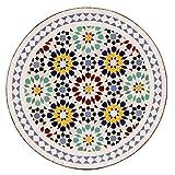 albena Marokko Galerie 15-147 Lisu Marokkanischer Mosaiktisch 60cm rund (Lisu weiß/blau/bunt) - 2