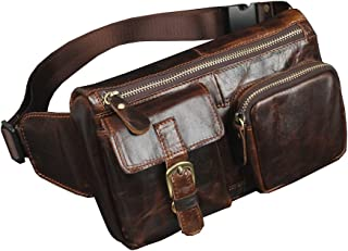 Vintage Leather Fanny Pack Waist Bag for Men Women Travel Hiking Running Hip Bum Belt Slim Cell Phone Purse Wallet Pouch Coffee
