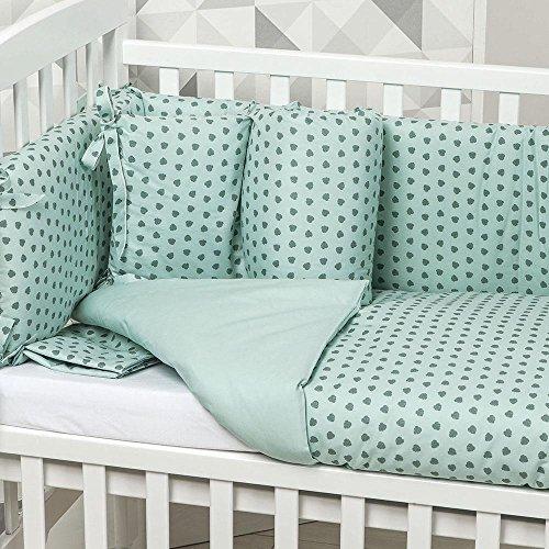 Picci Revêtement textile 4 pièces pour berceau de la feuille verte eau Variante 24