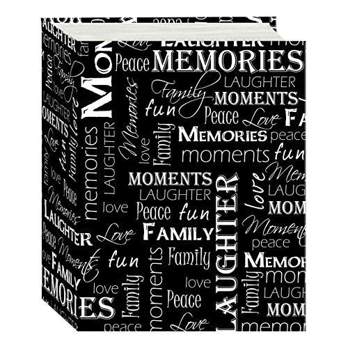 Pioneer Photo Albums A4-100 Black & White Photo Album, 100 Pockets 4'x6', Black and White Words