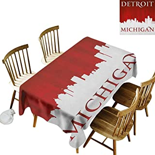 Leakproof Polyester Long Tablecloth Outdoor and Indoor use Michigan City Silhouette Red and White Composition with Classical Typography W14 x L72 Inch Red and White