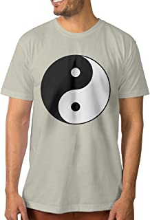 PAGE2 Fashion Men's T-Shirt Classic Yin Yang Symbol Natural