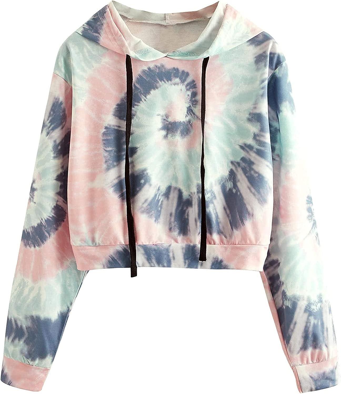 Crop Top Hoodies for Women, Casual Long Sleeve Workout Tie Dye Cute Pullover Cropped Sweatshirt Blouse