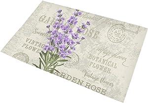 INTERESTPRINT Elegant Postcard Lavender Flowers Vintage Floral Decor Non Slip Bath Rug Set Absorbent Floor Mats for Bathroom Tub Bedroom Large Size 20 x 32 Inches