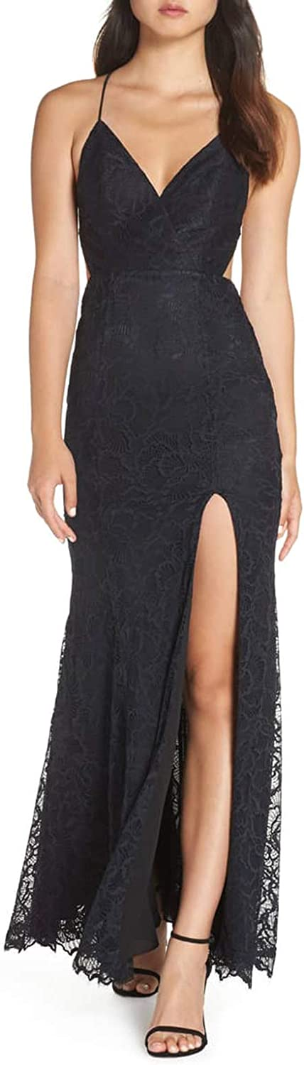Jerald Norton Ltd Women's Spaghetti Strap Lace Appliques Gown Split Sexy Backless Evening Dress Black