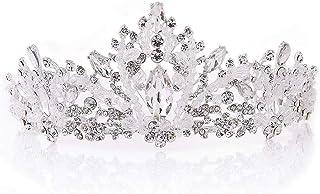 Dongyu Corona Imperiale da Sposa con Perline in Cristallo Fatto A Mano con Diamanti, Copricapo in Lega, Accessori da Sposa
