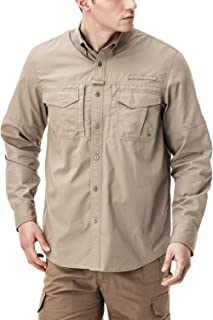 CQR Mens PFG Shirt, UPF 50+ Breathable Ripstop Fishing Shirts, Outdoor Recreation Button Down Long Sleeve Shirt